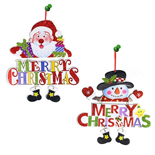 Sunrisee 2 Pcs Foam Santa and Snowman Merry Christmas Door Sign for Christmas Tree Door Wall Hanging Decorations ()