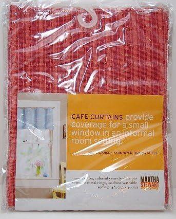 Amazon Com Martha Stewart Everyday Cafe Curtains Valance Red Ticking Stripe Kitchen Dining