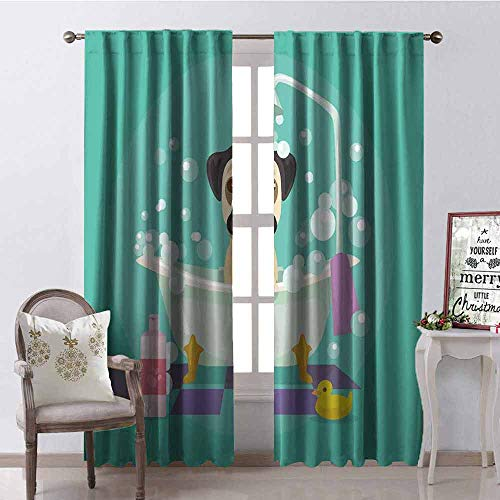 (GloriaJohnson Nursery Shading Insulated Curtain Pug Dog in Bathtub Grooming Salon Service Shampoo Rubber Duck Pets in Cartoon Style Image Soundproof Shade W52 x L63 Inch Teal)