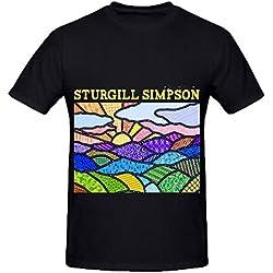 Sturgill Simpson High Top Mountain 80s Album Mens O Neck Printed Shirts Black