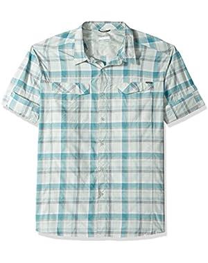Men's Big-Tall Silver Ridge Plaid Long Sleeve Shirt, Teal Window Pane, 4XT