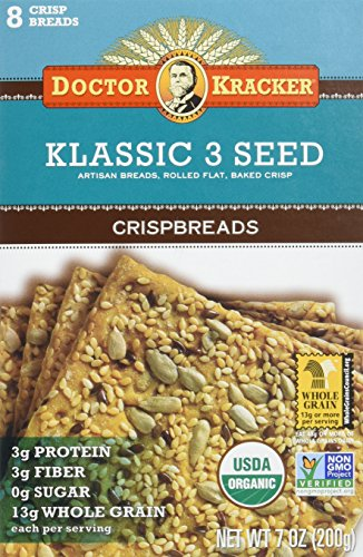 Doctor Kracker Crispbread, Klassic 3 Seed, 7-ounce (Pack of 6)