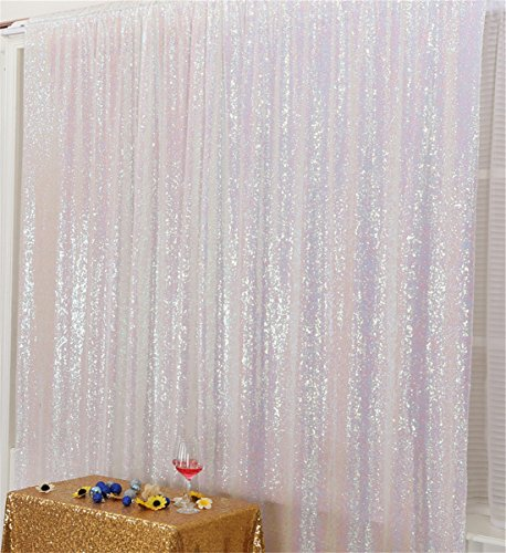 Eternal Beauty Iridescent Sequin Wedding Backdrop Photography Background Party Curtain, 10Ft x 10Ft