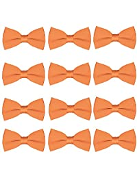 Men's Bow Tie Wholesale 12 Pack Pre-Tied Formal Tuxedo Bowties Wedding Solid Ties