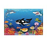KOTOM Kids Love Sea Animals Decor, Cartoon Whale with Sea Life Swimming in Coral Bath Rugs, Non-Slip Doormat Floor Entryways Indoor Front Door Mat, Kids Bath Mat, 15.7x23.6in, Bathroom Accessories