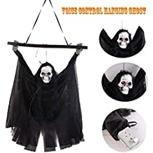 Haning GHost Halloween Decoration Hanging Ghost Voice Activated Tiny Scary Spooky with Creepy Scream and Flashing LED Red Eyes Black