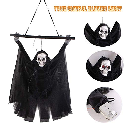 Haning GHost Halloween Decoration Hanging Ghost Voice Activated Tiny Scary Spooky with Creepy Scream and Flashing LED Red Eyes Black ()