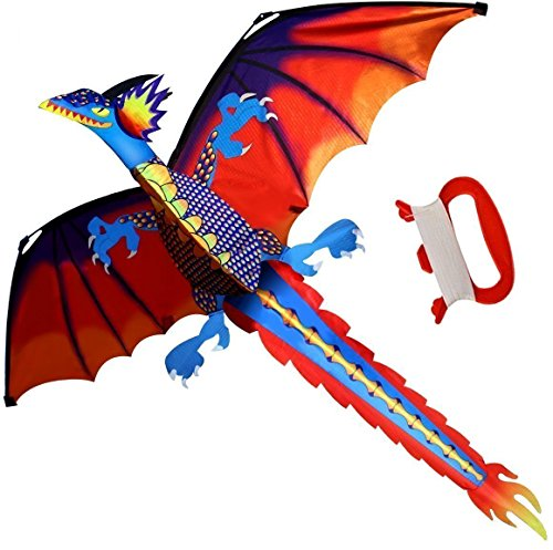 Longteck 3D Dinosaur Kite For Kids Red Mollusc With Long Colorful Tail Large 55Inch X 47Inch Single Line With Tail Fun Outdoor Games And Activities For Kids Adults