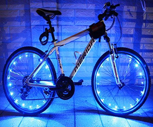 LEDMO(2 pack)Rechargeable Bicycle Bike Rim Lights, Bicycle Wheel Wire Rim 20 LED Cycling Flash Light, LED Blue Wheel Lights, Perfect for Safety and Fun color – Chargeable