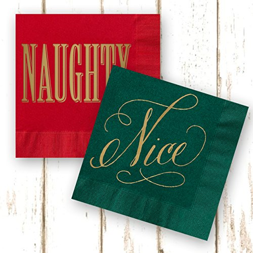 Naughty or Nice Beverage Cocktail Napkins - Set of 40 red and green paper holiday napkins with gold foil