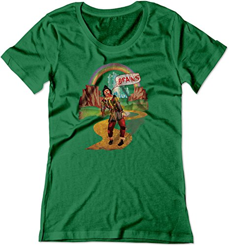 BSW Women's Brains Scarecrow The Wizard of Oz Zombie Shirt MED Kelly Green ()