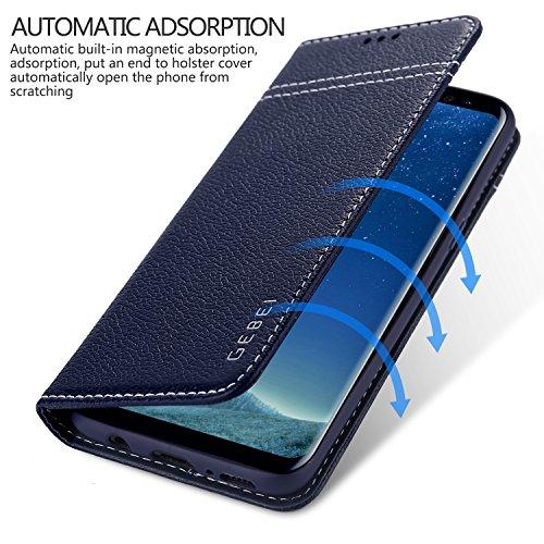 Samsung Galaxy S8 Funda cuero genuino, Gebei guerra serie teléfono móvil caja funda invisible magnética hebilla cubierta para Samsung Galaxy S8 (negro) Blue