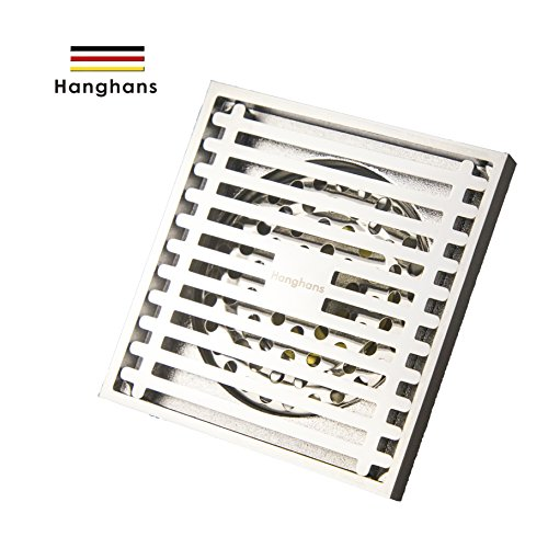 Drain,Bathroom Tile Insert Floor Drainer with Removable Strainer Cover Chrome Finish Anti-clogging for Kitchen, Washroom, Garage and Baseme (chrome 4 inch x 4 inch) ()