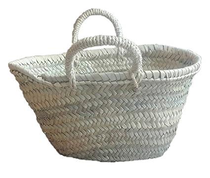 Capazo de Palma Reforzado, Cesto o Bolso de Mimbre para la Playa, Fibras Naturales. (4V, Aprox. 27x16 cm): Amazon.es: Hogar