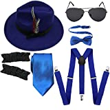 1920s Mens Manhattan Trilby Fedora Hat, Garters Armbands,Y-Back Suspenders & Pre Tied Bowtie, Gangster Sunglass (Royal Blue)