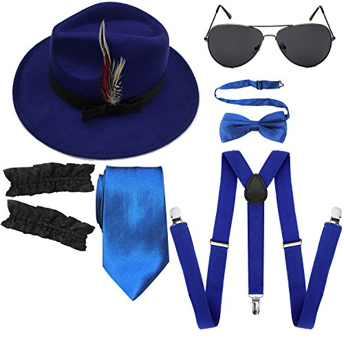 1920s Mens Manhattan Trilby Fedora Hat, Garters Armbands,Y-Back Suspenders & Pre Tied Bowtie, Gangster Sunglass (Royal Blue) ()