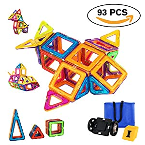 Magnetic Blocks, Magnetic Building Blocks Tiles Set, Educational Toys for Kids/Toddlers/Children with Wheels, 93 Pieces