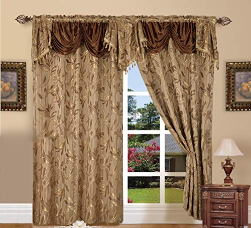 - Elegance LinenLuxury Design Jacquard Curtain Panel Set with Attached Valance 55