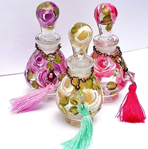 Decorative Painted Roses Mini Glass Perfume Bottle with Stopper Cap Romantic Rose Victorian Boho Chic Decor