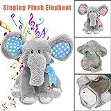 Kids Elephant Singing Toys,Hemlock Toddler Baby Soft Plush Animal Toys Stuffed Doll Big Toys (Grey-3)