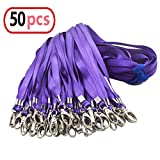Purple Bulk Lanyards for Id Badges,Nylon Neck Flat Lanyard Swivel Hooks Clips,Durably Woven Lanyards with Clip for Key Chains Men Women Office ID Name Tags and Badge Holders,Lanyards 50 Pack 32-inch