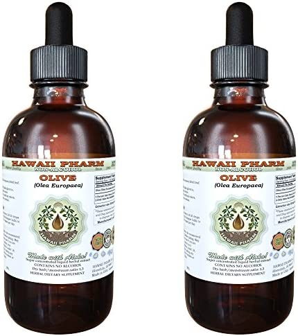 Olive Alcohol-Free Liquid Extract, Organic Olive Olea europaea Dried Leaf Glycerite Natural Herbal Supplement, Hawaii Pharm, USA 2×2 fl.oz