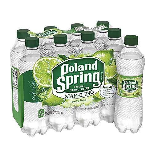 POLAND SPRING Brand Sparkling Natural Spring Water, Lime 16.9-ounce plastic bottles (Pack of 8)