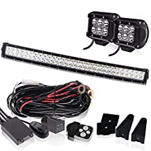 Curved 30 32 INCH LED Light Bar 18000LM 6000K Waterproof IP67 W/2PCS Fog Lights + 3LEAD Remote Switch Wiring Harness for Offroad Chevrolet Silverado GMC Dodge Ram Sierra Ford F-150 Jeep Toyota Truck