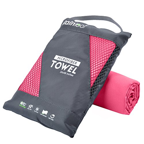 RainLeaf Microfiber Towel, 40 X 72 Inches.Rose Red.