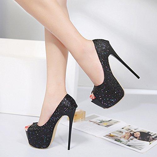 Easemax Mujeres Trendy Lentejuelas Glitter Peep Toe Plataforma Alto Estilete Talón Bombas Zapatos Negro