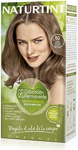 Naturtint   Coloración sin amoniaco   100% cobertura de canas   Ingredientes vegetales   Color natural y duradero   6G Rubio Oscuro Dorado   170ml
