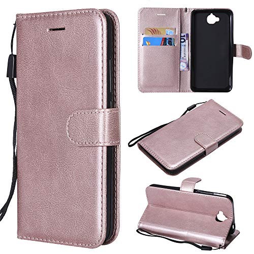 Huawei Honor Enjoy 5 Case, Abtory Flip PU Wallet Case with Card Holder & Folding Stand Magnetic Protective Phone Case for Huawei Honor Enjoy 5 Rose Gold