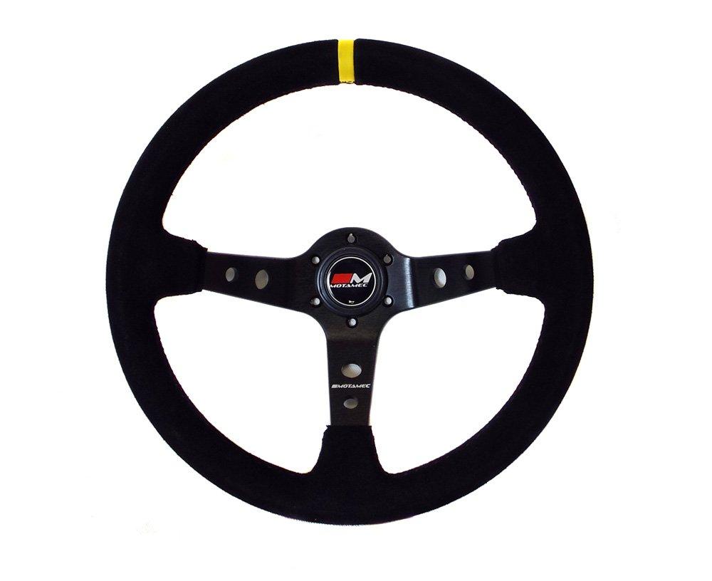 Motamec Rally Steering Wheel Deep Dish 350mm Black Suede Black Spoke