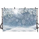 COMOPHOTO Winter Backdrops White Snow Scene Bokeh Photography Background 7x5ft Freeze Tree Christmas Decoration Baby Portrait Photo Booth Studio Photographic