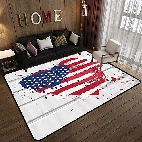 Modern Area Rug with Non-Skid,Americana Decor Collection,USA Flag in Heart Shape on Wood Wall Live Nation Holiday Splatter Grunge Style Print,Cobalt R 59