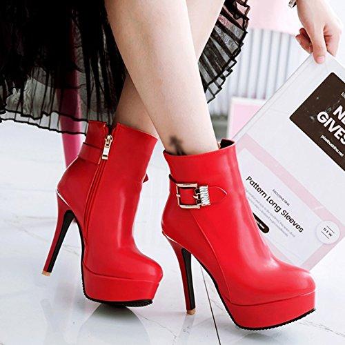 Aisun Damen Sexy Kunstleder Plateau Stiletto Riemchen Schnalle High Heel Knöchelhoher Chelsea Stiefel Rot
