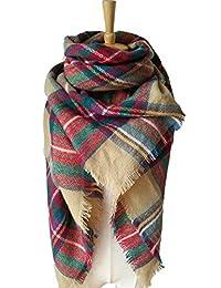 ZOONAI Women Warm Plaid Blanket Scarf Gorgeous Wrap Shawl (Light Tan)