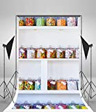 Laeacco 5x7FT Vinyl Backdrop Candy Store Photography Background Sweet Baby Girl Children Candies Boutique Jars on Goods Shelf Newborn Baby Kids Portrait Art Photo Backdrop Shoot Studio Props