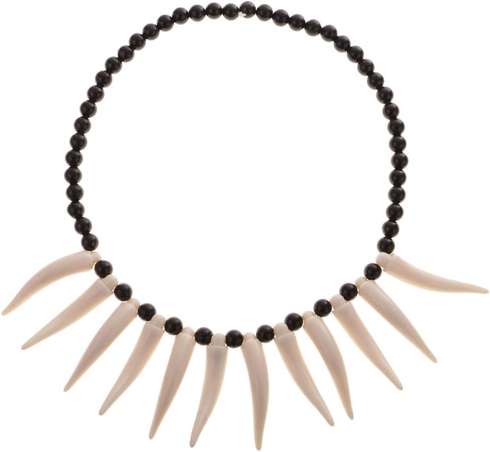 F Fityle Collar De Perlas De Cuerno De Marfil Artificial Colmillo Tribal Traje De Cosplay De Diente Tribal