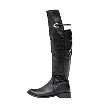 78ec18fd3159 Ladies Women Faux Leather Over the Knee High Low Mid Heel Calf Riding Boots  Size
