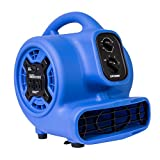 power mover - XPOWER P-230AT 1/5 HP 800 CFM 3 Speeds Mini Air Mover with 3-Hour Timer and Built-In Dual Outlets for Daisy Chain - Purple Blue