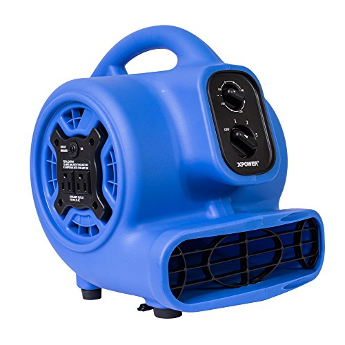 1/5 HP 800 CFM 3 Speeds Mini Air Mover with 3-Hour Timer and Built-In Dual Outlets for Daisy Chain - Purple Blue - XPOWER P-230AT