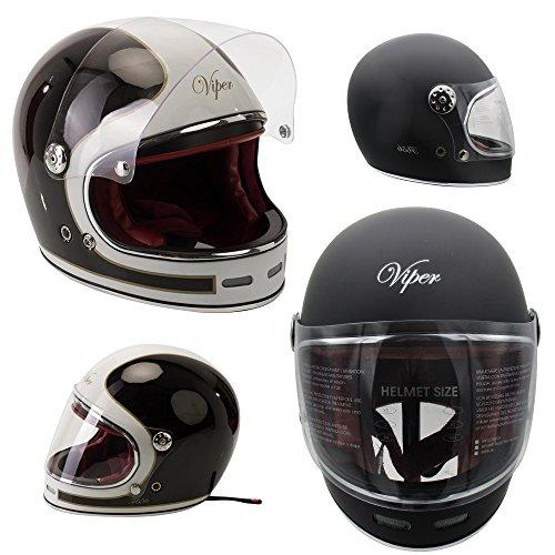 VIPER RS-05 SLIM SKINNY FIT RETRO CUSTOM BOBBER OPEN FACE MOTORCYCLE HELMET MATT BLACK LARGE