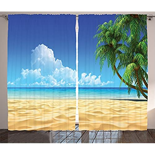 Ocean Curtains Decor By Ambesonne Palm Tree Leaves On Golden Tropical Sand Beach Sea Landscape Graphic Print Living Room Bedroom Curtain 2 Panels
