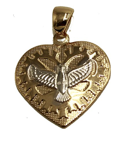 - Diamantados of Florida Holy Spirit Dove Heart Medal - Espiritu Santo Pendant 18k Gold Plated Medal with 20 inch Chain