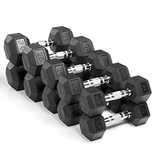 XMark Fitness, Premium Quality, Rubber Coated Hex Dumbbells are Built Tough, Built to Last – Sold in Pairs