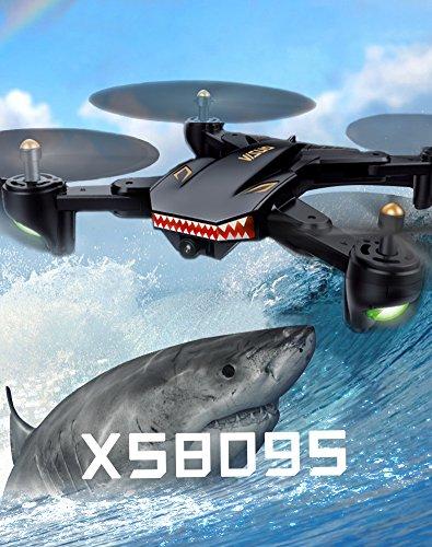 VISUO xs809s 2 MP Wide Angle WiFi Fotocamera  Tempo di volo di 20 minuti  1800 mAh batteria Grande One Key Return RC Quadcopter