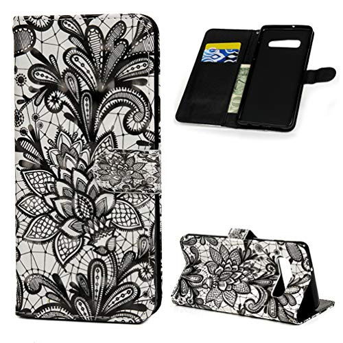 ZSTVIVA Case for Galaxy S10 Plus Case, Wallet Case Cover PU Leather Credit ID Card Kickstand Bumper Magnetic Flip Protective Skin Shell for Samsung Galaxy S10 Plus - Black Lace Flower