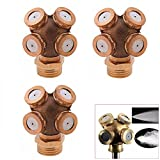 Chris.W Misting Spray Nozzle, 4-Hole Brass Agricultural Misting Spray Nozzle Garden Sprinkler Irrigation System, 3-Pack with 1/4 to 1/2 Fitting Adapter