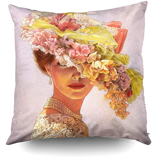 (Elegant Art Decor Floral Hat Victorian Lady Decorative Throw Pillow Case 18X18Inch,Home Decoration Pillowcase Zippered Pillow Covers Cushion Cover with Words for Book Lover Worm Sofa Couch)